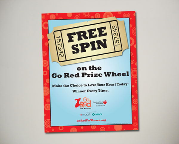 go red for women prize wheel sign