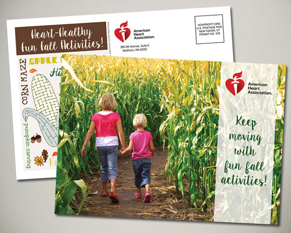 american heart association fun fall activites postcard design