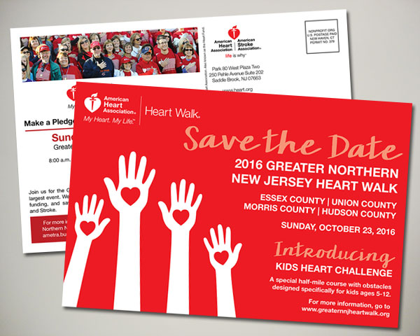 american heart association nj heartwalk postcard design