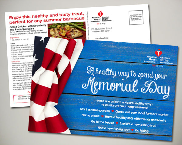 american heart association memorial day postcard design