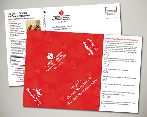 american heart association valentines day origami postcard design
