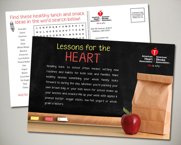 american heart association back to school postcard design
