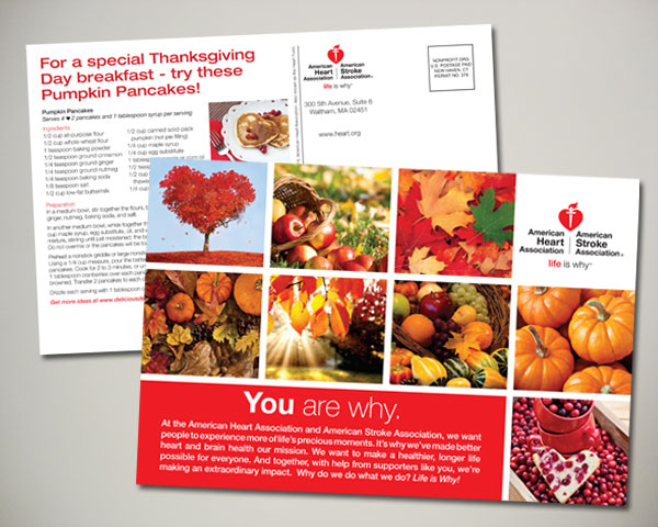 american heart association thanksgiving postcard design