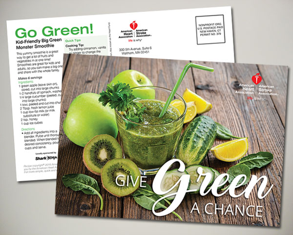 american heart association go green postcard design