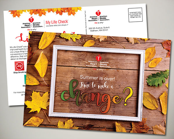 american heart association back to school fall autumn postcard design
