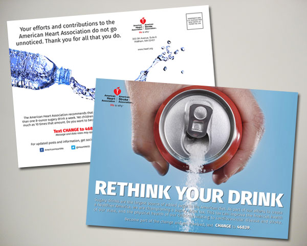 american heart association rethink your drink postcard design