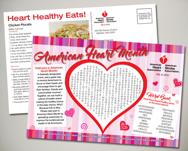 american heart association valentines day word search postcard design