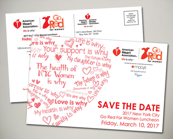 american heart association nyc go red for women save the date postcard design