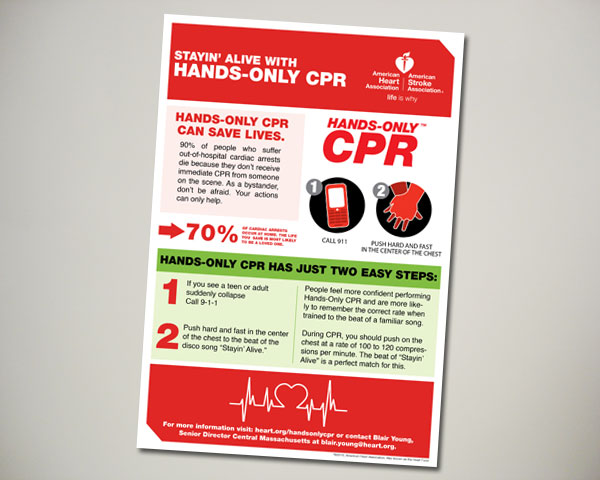 american heart hands only cpr ad design
