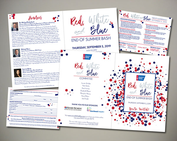 american cancer society red white blue bash long island invitation design