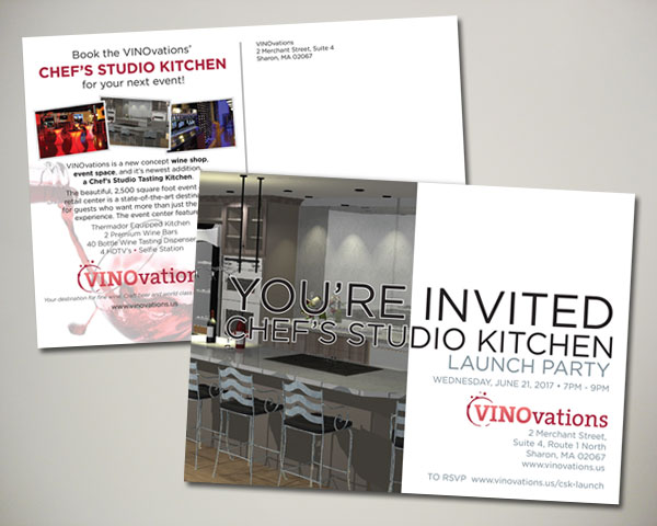 vinovations chef kitchen kickoff event postcard design