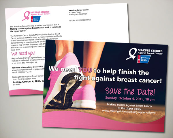 american cancer society making strides against breast cancer postcard design