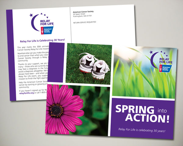 american cancer society relay for life 30 years postcard design