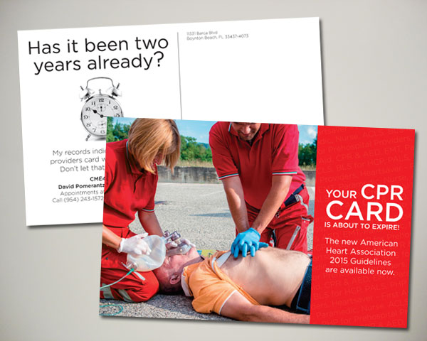 cpr certification card postcard design