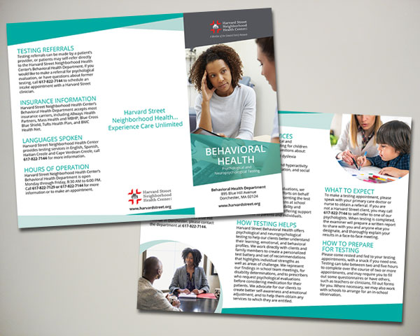 harvard street neighborhood health center substance abuse brochure design