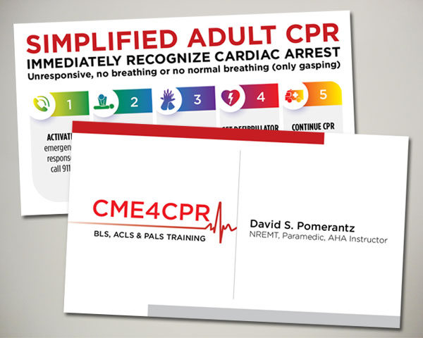 CPR training certification business card design