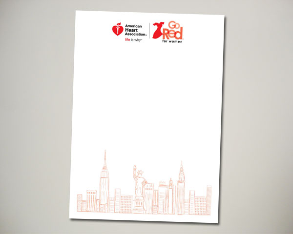 go red for women nyc new york notecard design