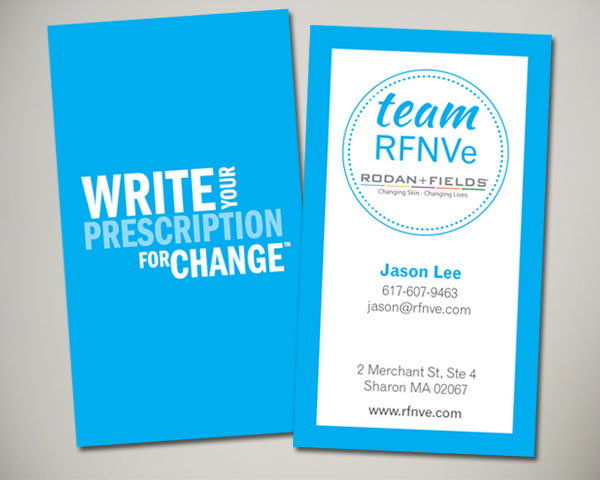 rfnve rodan fields team business card design