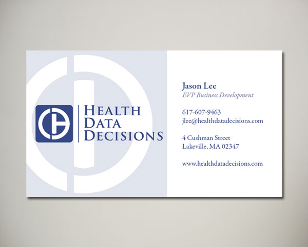 health data decisions business card design