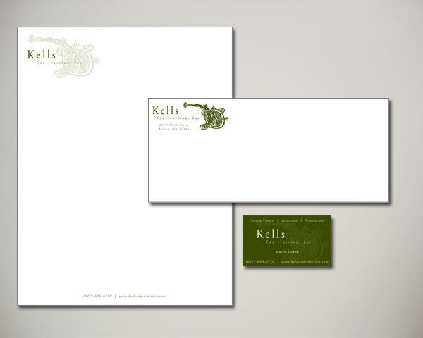 kells construction business card letterhead design