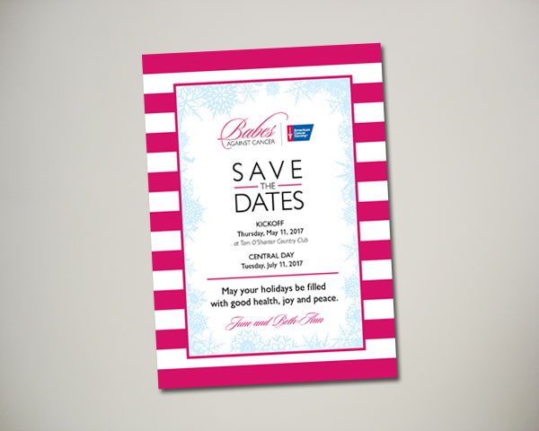non profit babes against cancer kickoff brunch save the date design