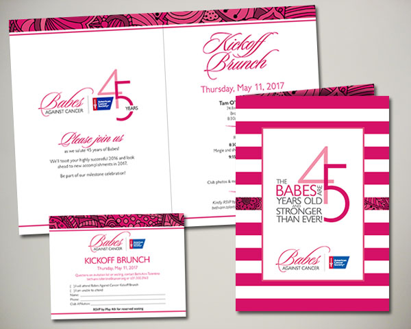 non profit babes against cancer kickoff brunch invitation design
