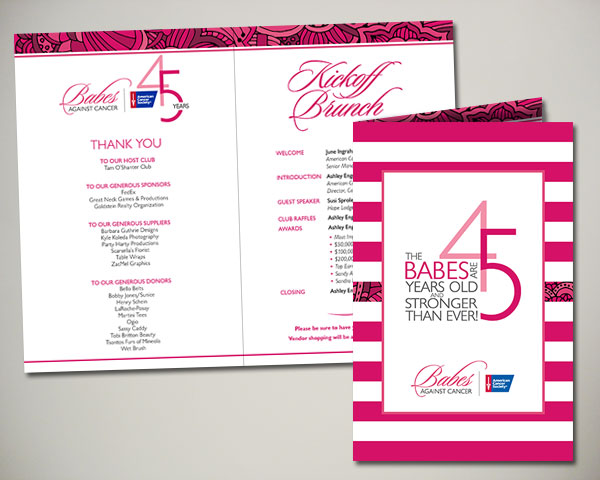 non profit babes against cancer kickoff brunch program design