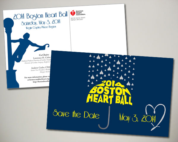 boston heart ball save the date postcard