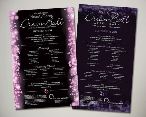 look good feel better beautycares dreamball  invitation afterdark design non profit
