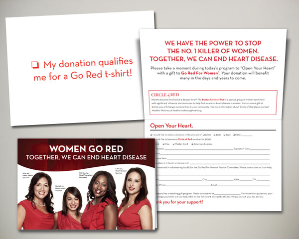 go red for women luncheon open your heart card