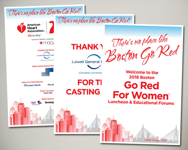 go red for women luncheon signs