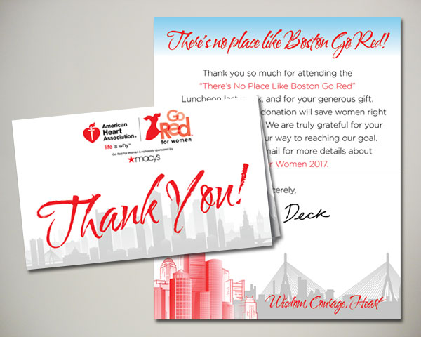 go red for women luncheon thank you card
