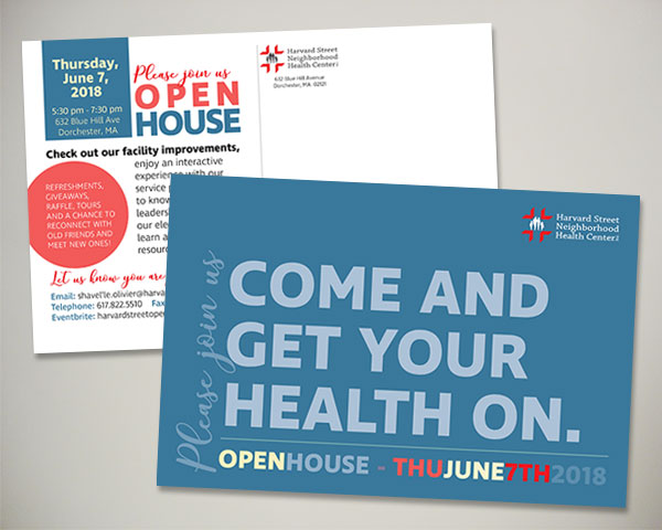 non profit harvard street health center open house invitation design