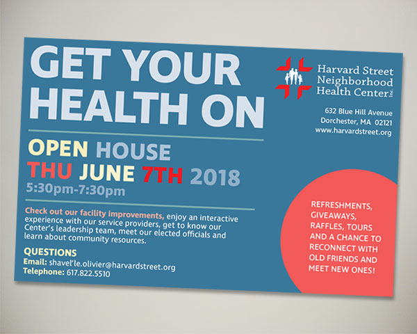 non profit harvard street health center open house ad design