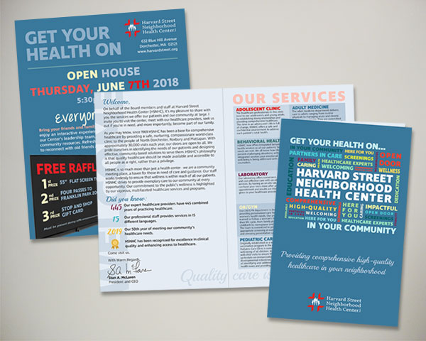 non profit harvard street health center open house flyer brochure design