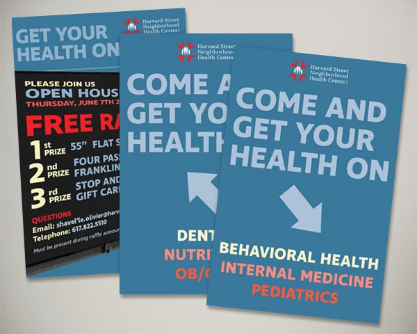 non profit harvard street health center open house sign design
