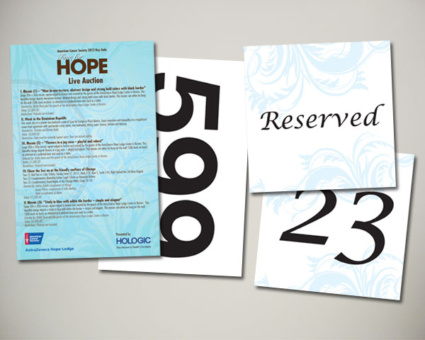 key gala auction bidder card table number