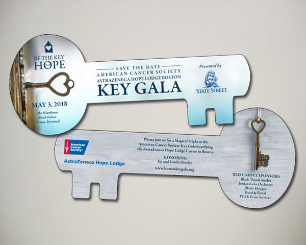 american cancer society key gala non profit save the date design