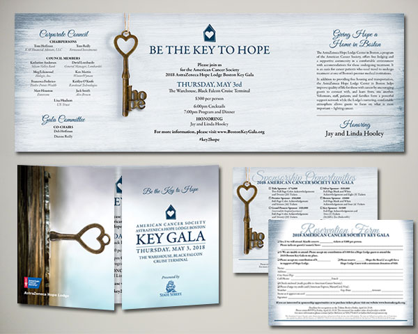 american cancer society key gala non profit invitation design