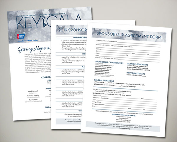 american cancer society key gala non profit sponsorship brochure design