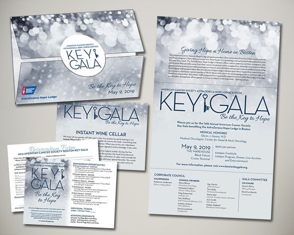 american cancer society key gala non profit custom diecut folded invitation design