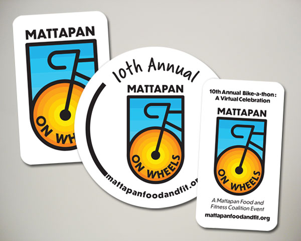 mattapan on wheels food and fitness coalition bike a thon virtual ride sticker design