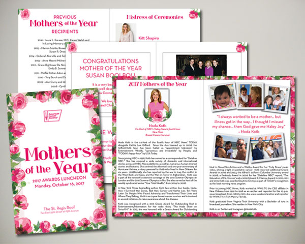 cancer society mothers of the year non profit luncheon nyc program journal