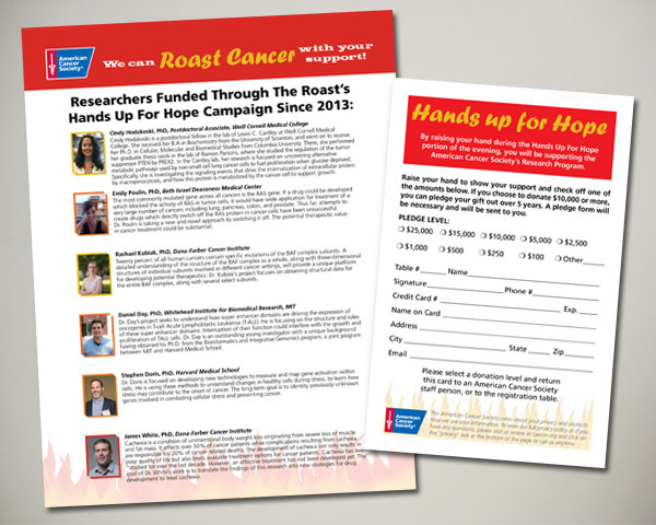 fairfield roast cancer society non profit design ad research flyer