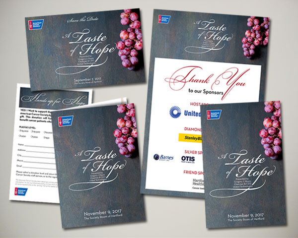 american cancer society taste of hope event gala non profit design