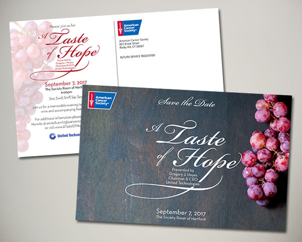 taste of hope non profit save the date design