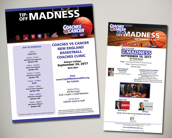 american cancer society non profit coaches vs. cancer clinic flyer advertisement
