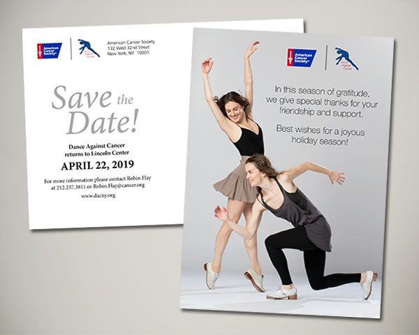 american cancer society non profit dance against cancer save the date holiday postcard