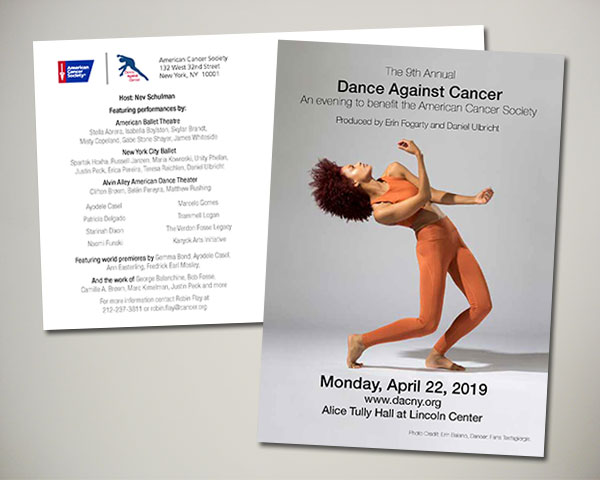 american cancer society non profit dance against cancer artist dancer announcement postcard