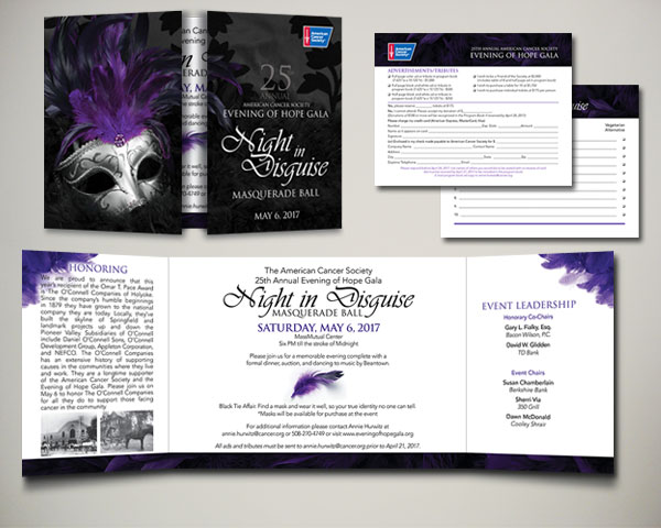 cancer society non profit evening of hope gala masquerade invitation